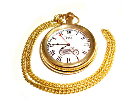 Brand New Golden Brass Pocket Watch With Chain Early 1950's Royal Enfield 500cc