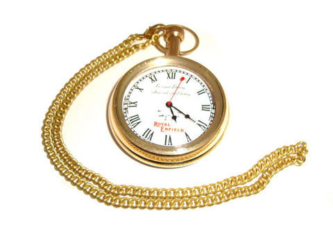 Brand New Quality Pure Brass Logo Pocket Watch With Chain Royal Enfield