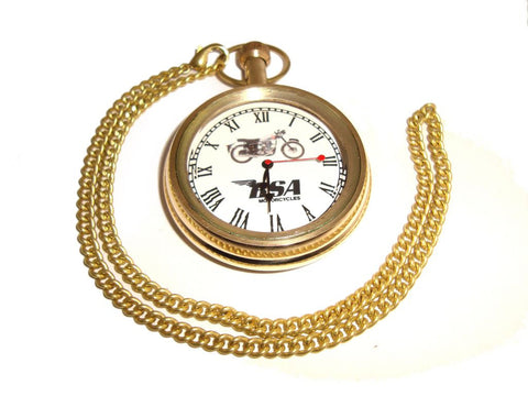 Brand New Golden Brass Pocket Watch with Chain BSA Motorcycle