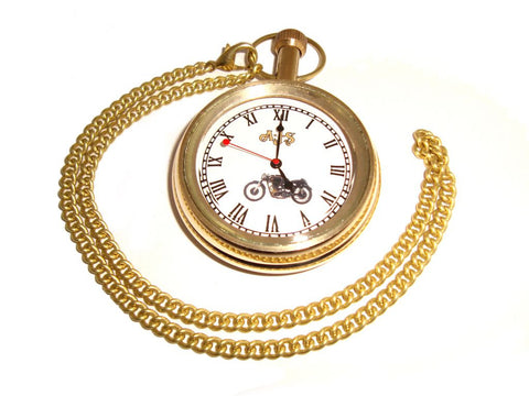 Brand New Pure Brass Pocket Watch with Chain For AJS Motorcyle