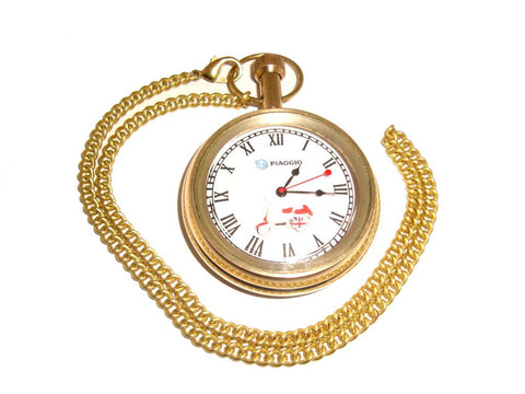High Quality Vespa Golden Brass Pocket Watch Piaggio With Chain