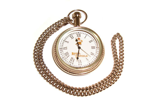 New Chromed Pocket Watch + Chain/ Rare Brass Antique Reproduction Royal Enfield