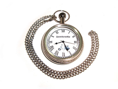 Best Quality Brass Pocket Watch + Chain Chrome Lambretta Scooter