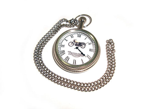 New Quality Brass Pocket Watch + Chain Chrome For Triumph Motorcyle