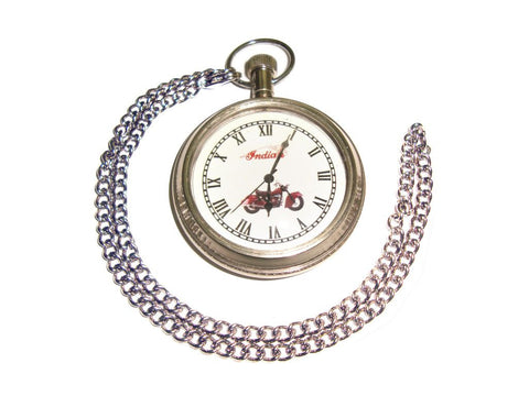 Brand New Rare Brass Pocket Watch + Chain Chrome Finish For Indian Motorcycles available at