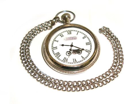Brand New Brass Chrome Finish Pocket Watch With Chain For Ariel Motorcycles available at