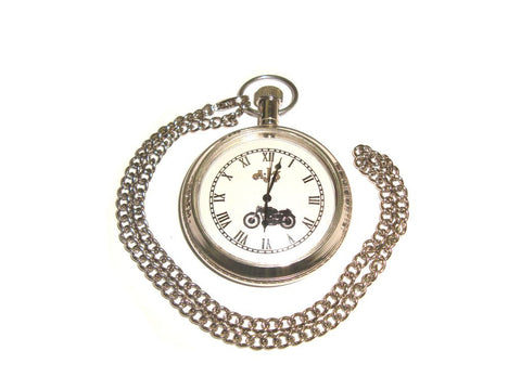 Hi Quality New Brass Chrome Finish Pocket Watch With Chain AJS Motorcycle