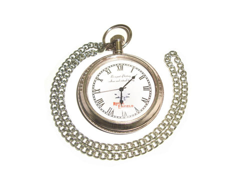 Brand New Bike Chromed Antique Pocket Watch With Logo Royal Enfield