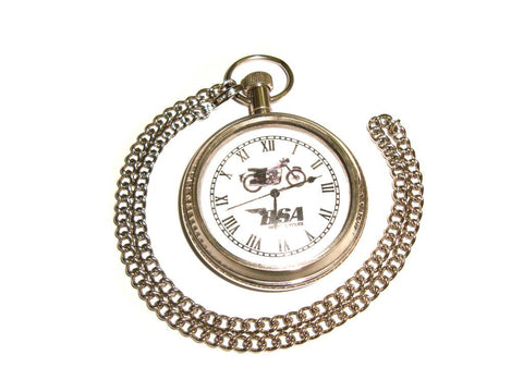 Brand New Brass Chrome Finish BSA Motorcycle Pocket Watch With Chain