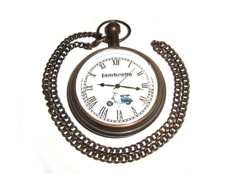 Pocket Watch With Chain Lambretta Brass Antique Finish - Lambretta Lovers available at