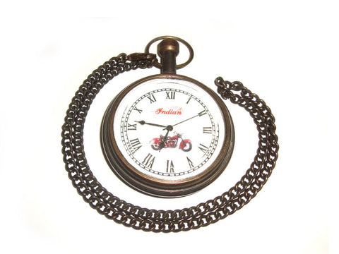 New Brass Customized Antique Finish Pocket Watch With Chain- Indain Motorcycle