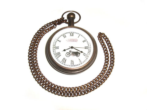 Brand New Antique Brass Pocket Watch With Chain - Vintage Ariel Mototcycle available at