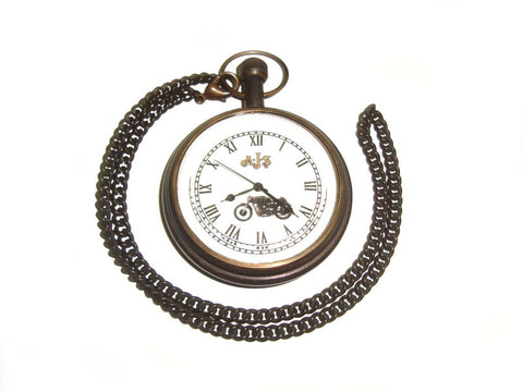 Brand New Rare Chrome Brass Finish Pocket Watch + Chain - AJS Motorcycles available at