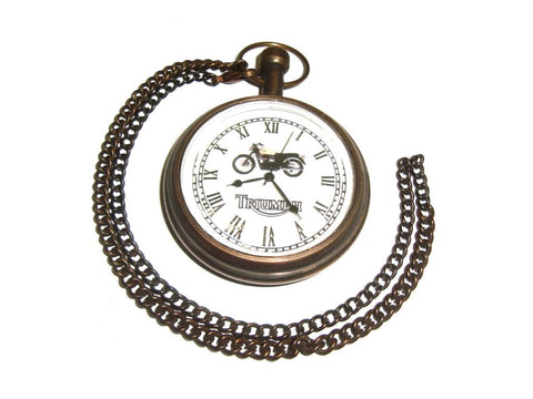 Brand New Pocket Watch With Chain Brass Antique Finish - Triumph Motorcycles available at