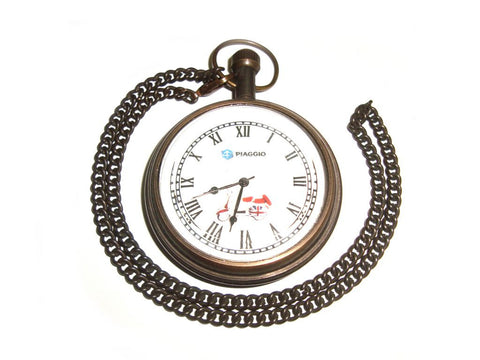 Brand New Antique Brass Pocket Watch With Chain - Piaggio Scooter available at