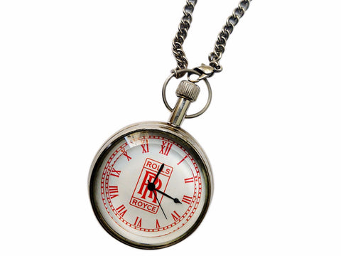 New Pure Brass Chromed Rolls Royce Red RR Logo Pocket Watch With Chain