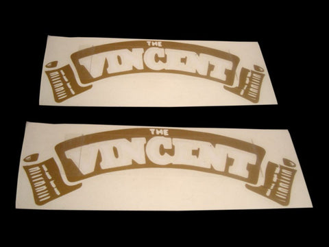 Pair Of Golden White Petrol Tank Decals Stickers Fits Vintage Vincent Motorcycles.