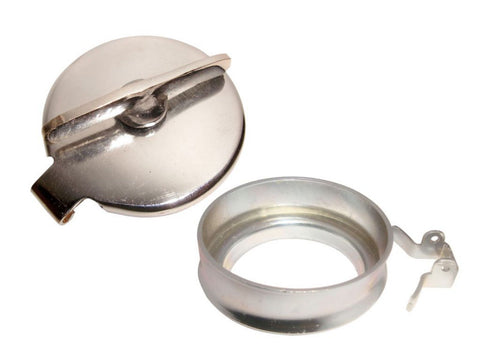 "Hinged Flip Fuel Tank Filler Cap & Neck Chrome For Norton BSA Triumph Ariel 2.5"" available at Online at Royal Spares"