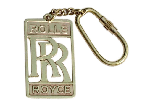 Brand New Heavy Brass Keychain for ROLLS ROYCE RR Logo Key Ring Antique Collectable