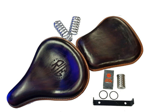 Royal Enfield Classic 350cc 500cc Front and Rear Leather Seat Brown With Springs