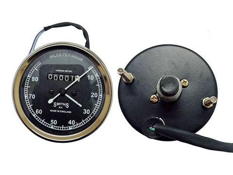 Smiths Replica Speedo Meter Speedometer 0-80 MPH Black For BSA, Vincent, Ariel