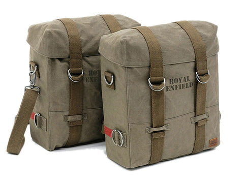 Pair Military Pannier Set Olive For Royal Enfield Classic 350cc 500cc