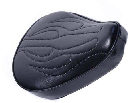 Flames Solo Seat Flat Small For Harley Chopper Bobber Universal