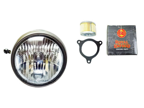 Royal Enfield Himalayan Head Lamp Assembly With Bulb with Free Oil Filter