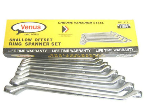 Brand New Chrome Plated 8 Piece Metric Ring Spanner Set available Online at Royal Spares