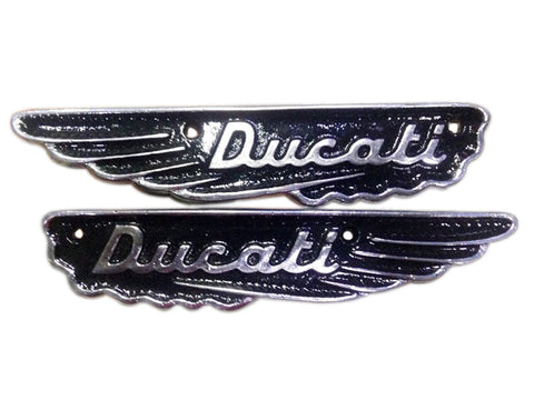 Pair Ducati Scrambler Petrol Gas Fuel Tank Badge Motif Emblem Alloy For Vintage