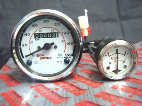 New White Face Speedo 0-160 Ammeter Fits Royal Enfield available at Online at Royal Spares