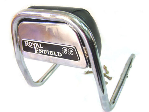 New Chromed Padded Backrest Fits Royal Enfield 350cc/500cc Models available at Online at Royal Spares