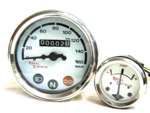 New Deal White Face Speedo 0-160 Kmph & Ammeter Fits Royal Enfield available at Online at Royal Spares