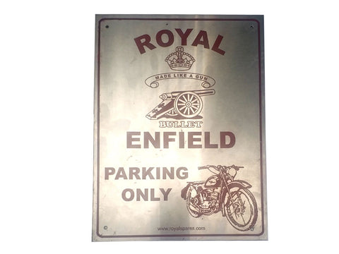 "Copy of Stainless Steel 12"" X 9"" Owner Parking Plate Red - Royal Enfield Owners"