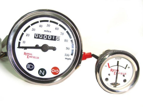 White Speedometer 0-100 mph + Ammeter Fits Royal Enfield Motorcycles available at Online at Royal Spares