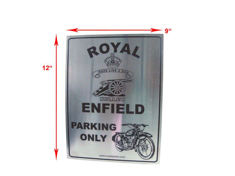 "Stainless Steel 12"" X 9"" Owner Parking Plate Black & Red - Royal Enfield Owners"
