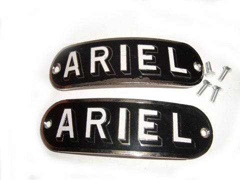 New Chrome Pair Of Petrol Tank Badges Black Colour Fits Vintage Ariel Tanks available at Online at Royal Spares