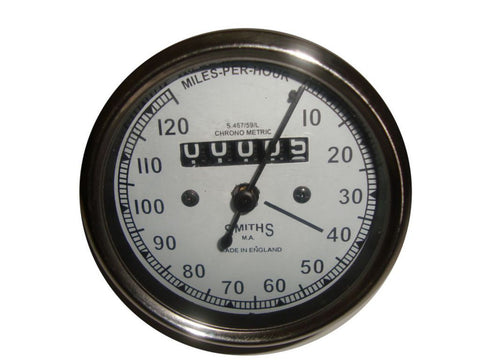 New Smiths 0-120 MPH Speedometer With White Face Fits Royal Enfield available at Online at Royal Spares