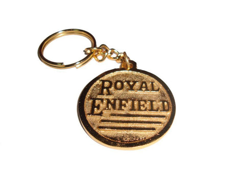 Solid Brass Key Chain With Fits Royal Enfield Logo & Canon available at Online at Royal Spares