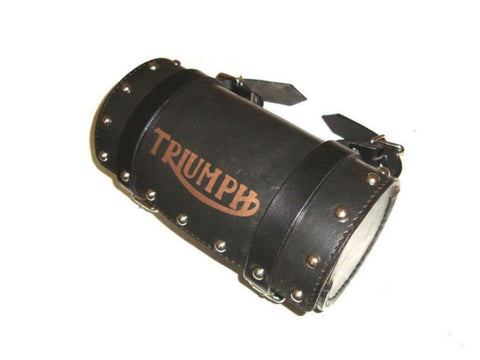 Handcrafted Black Leather Stud Tool Roll Bag Fits Triumph available at Online at Royal Spares