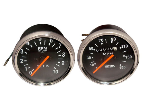 Pair Of Black Speedometer Tachometer150 Mph Fits BSA Norton Triumph available at Online at Royal Spares