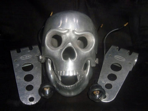 Skull Headlight With Light In Eyes Fits BSA, Norton, Triumph, Matchless available at Online at Royal Spares