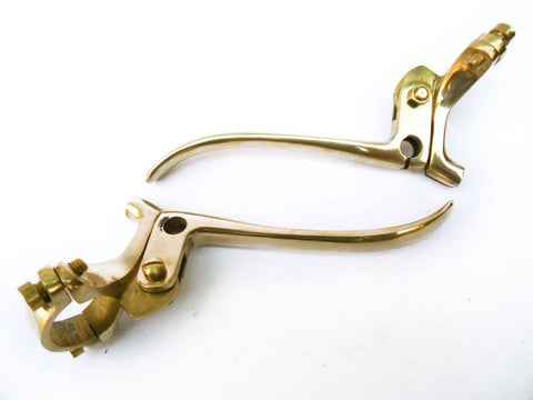"Hi Quality 1"" Handlebar Rare Brass Brake And Clutch Lever Set Fits Vintage Motorcycles available at Online at Royal Spares"