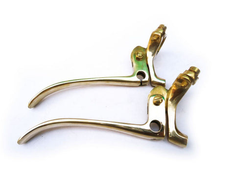 "Best Quality 7/8"" Handlebar Brass Brake And Clutch Lever Set Fits Vintage Motorcycles available at Online at Royal Spares"