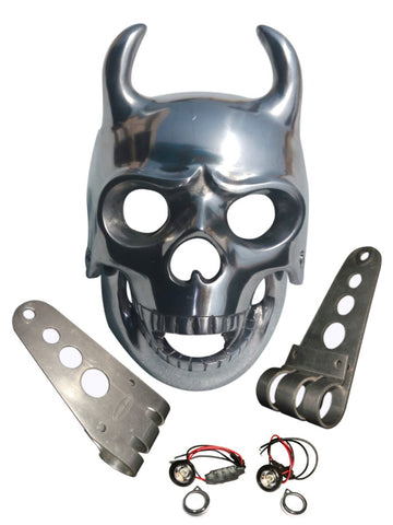 Royal Enfield/Harley Chopper Bobber Aluminium Skull Double Horn Headlight Case + Led Lights