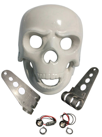 Brand New White Skull Headlight Case +led Light & Fixings Fits BSA/Norton Bikes