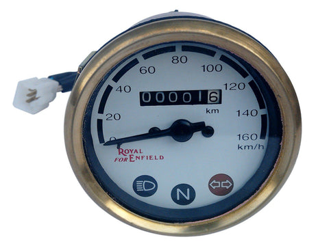 0-160 KM/H White Face Speedometer Brass Bazel With Wiring Fits Royal Enfield