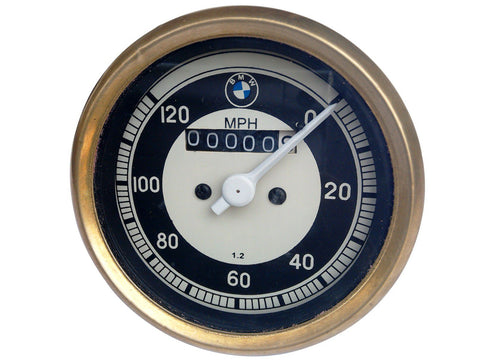 0-120 Mph Black & Cream Face (Golden Rim) Speedometer Brass Bazel Fits BMW