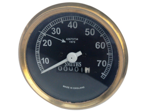 0-70 MPH Smiths Black Face Speedometer Brass Bezel Fits Vintage Bikes