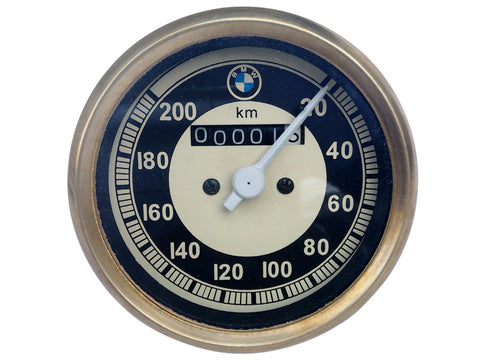 0-200 Kmph Black & Cream Face Speedometer Brass Bezel Fits BMW Bikes